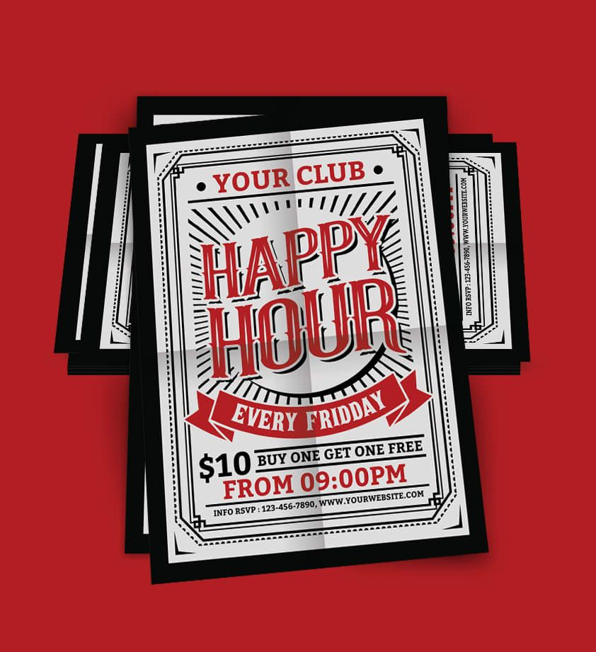 Happy Hour Flyer Template Psd Vintage Style Flyer Templates