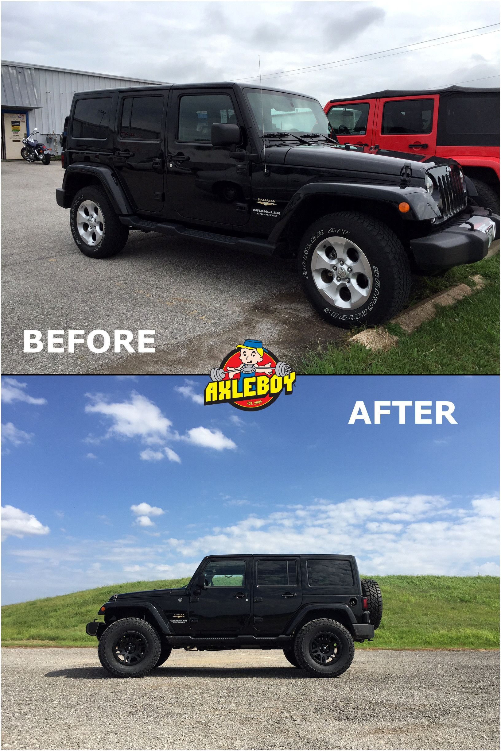 before and after pictures of a 2014 jeep wrangler now with a 2 5 teraflex lift 35 cooper st. Black Bedroom Furniture Sets. Home Design Ideas