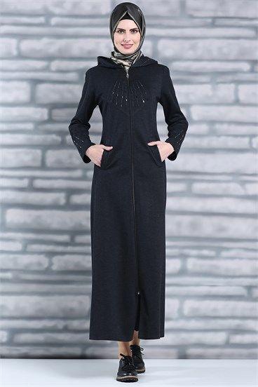 Tesettür Giyim Ferace Modelleri En Ucuz Fiyatlara En Kaliteli Ürünler Moda Sevinç'de ModaSevinç, 89,9 TL, Kapüşonlu Taş Detaylı Ferace (Siyah)