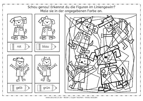 roboter im liniengewirr preschool robot pinterest preschool coloring for kids und perception. Black Bedroom Furniture Sets. Home Design Ideas
