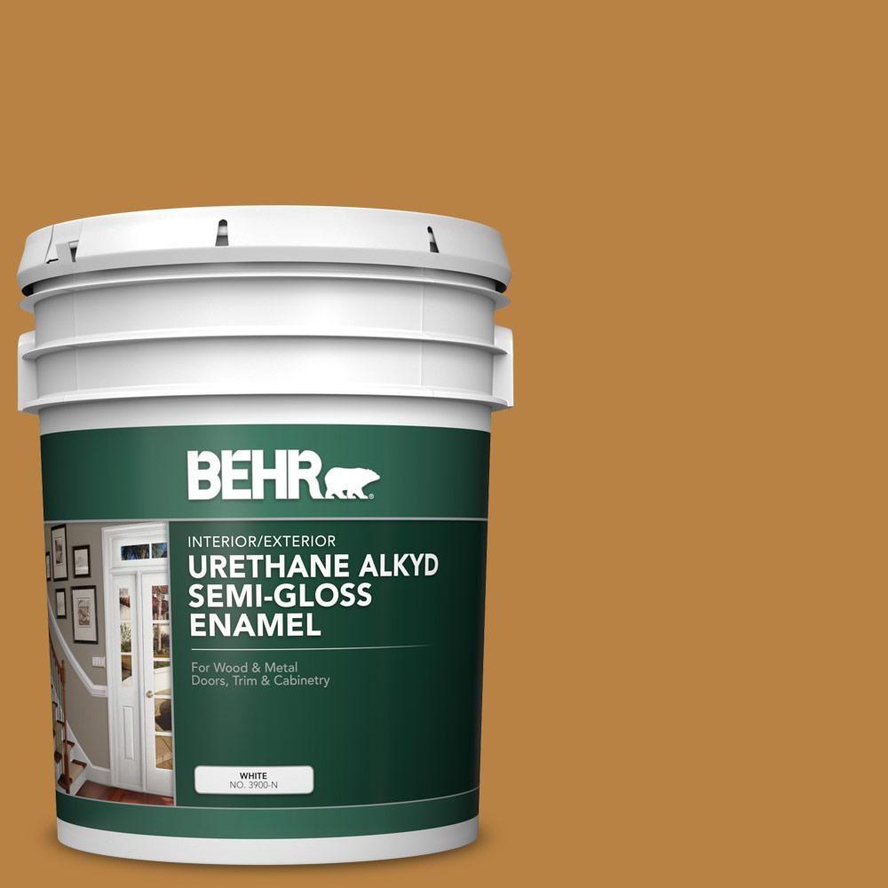 Behr 5 Gal M270 7 Wild Ginger Urethane Alkyd Semi Gloss Enamel Interior Exterior Paint Exterior Paint Interior Exterior Behr