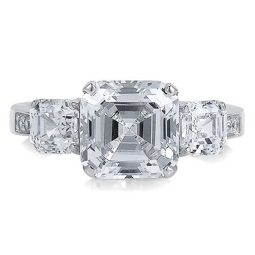 Sterling Silver Ring 3-Stone Asscher Cubic Zirconia CZ Ring 5.62 ct.tw from Berricle - Price: $51.99