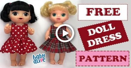 DIY  How to make a Baby Alive Doll Dress Free Pattern #dolldresspatterns