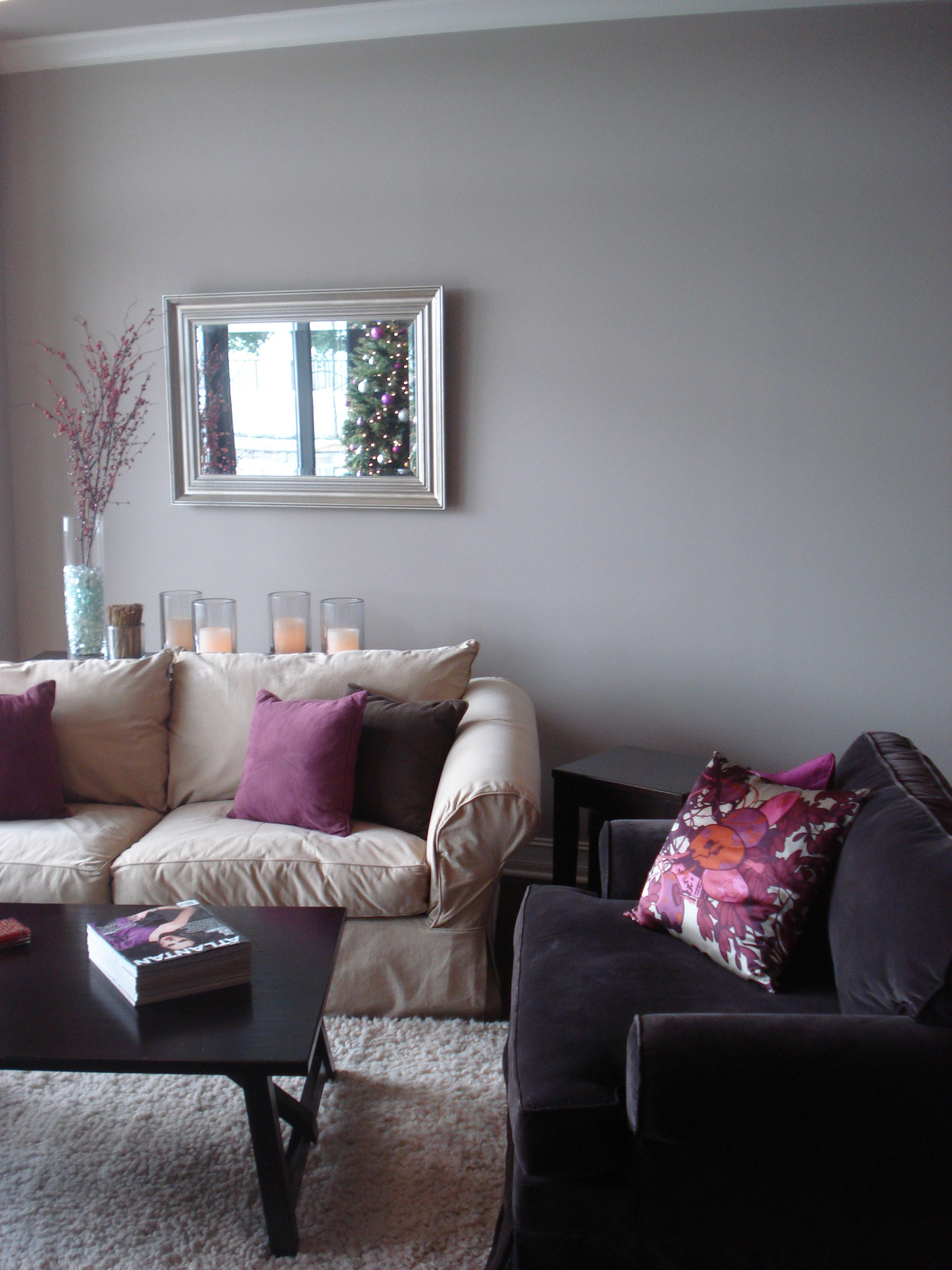 Love the gray walls purple pillow combo but for our - Grey and purple living room walls ...