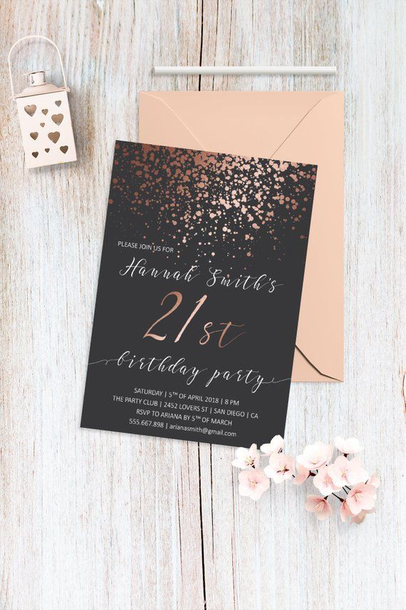 Printable 21st Birthday Invitation Rose Gold Invite 30th Invitations Fau