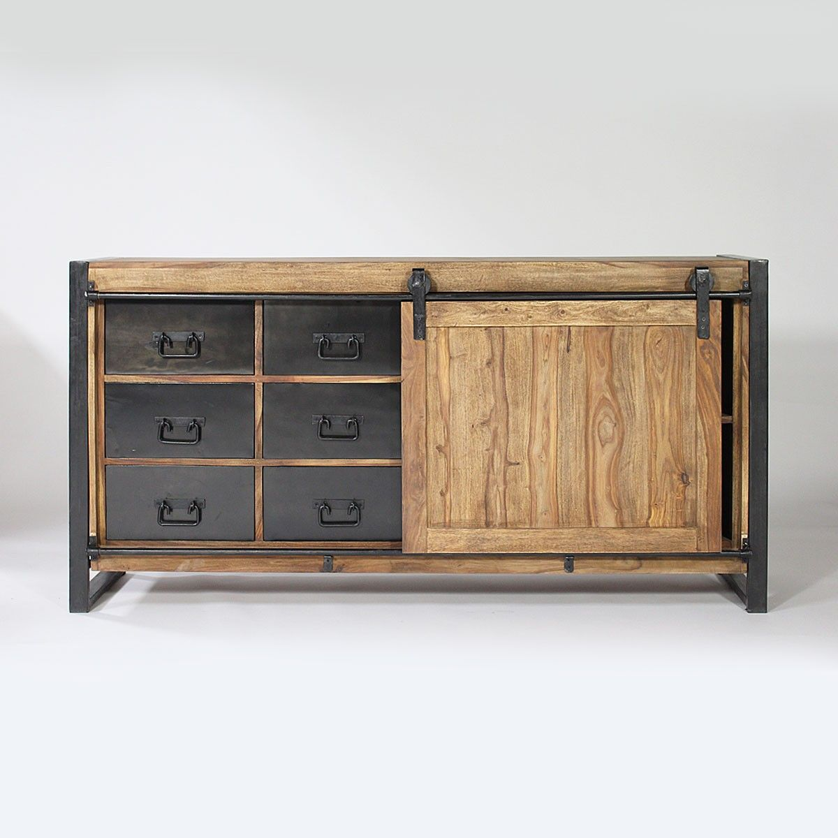 buffet industriel porte coulissante bois naturel 6. Black Bedroom Furniture Sets. Home Design Ideas