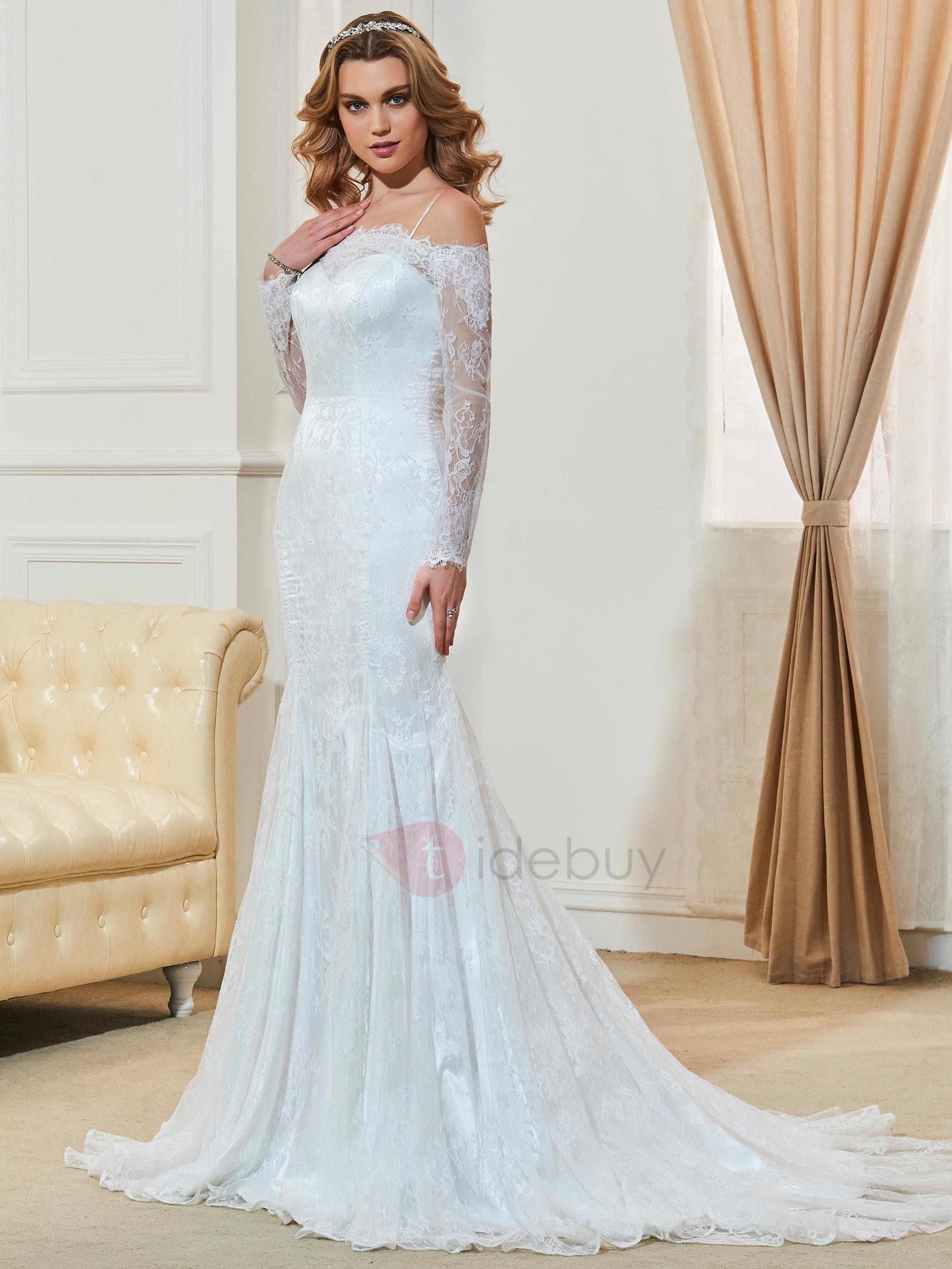 Off the shoulder lace mermaid wedding dress  Off the Shoulder Lace Long Sleeves Mermaid Wedding Dress  Wedding