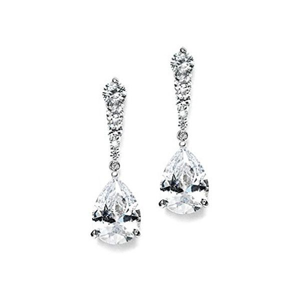Mariell Linear Cubic Zirconia and Bold Pearl Teardrop Wedding Earrings for Brides 14K Rose Gold Plated