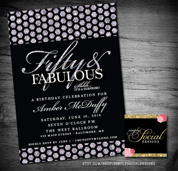 Fifty and Fabulous Surprise Birthday Party Invitation Glitter Glam Diamonds