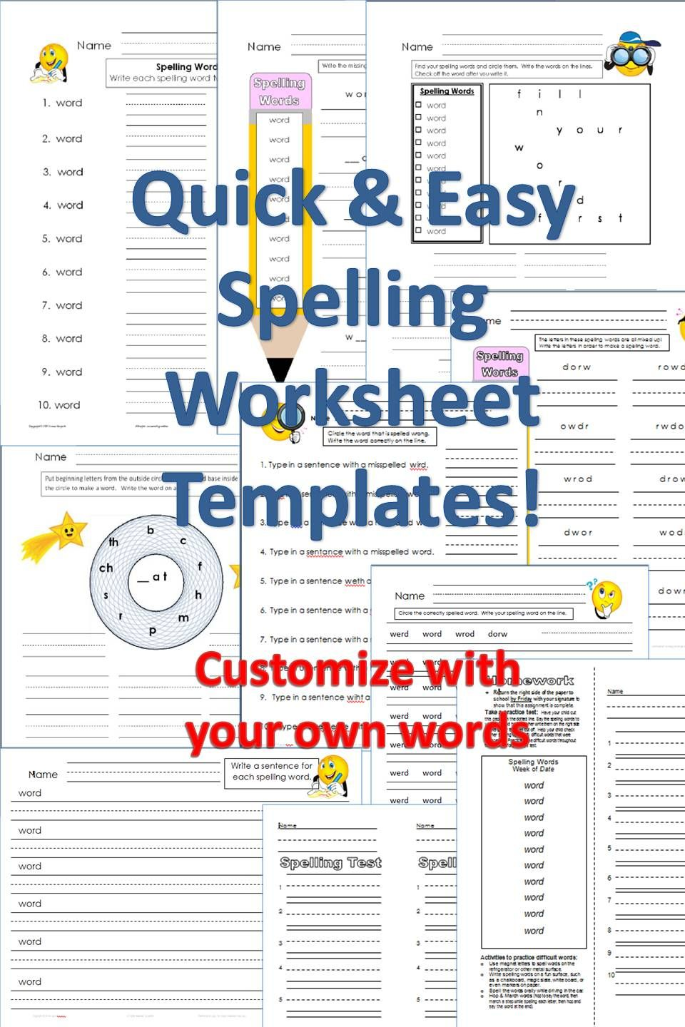 Uncategorized Make Your Own Spelling Worksheets spelling worksheet templates pack customize with your words for easy peasy way to make own worksheets just replace with