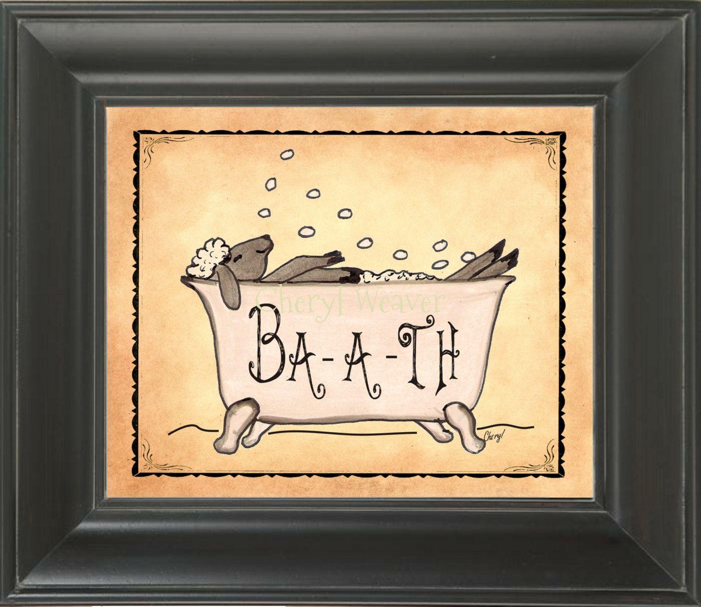Bath Sheep -Ba-a-th Sheep Bathroom Print by Cheryl Weaver 8 by 10 ...