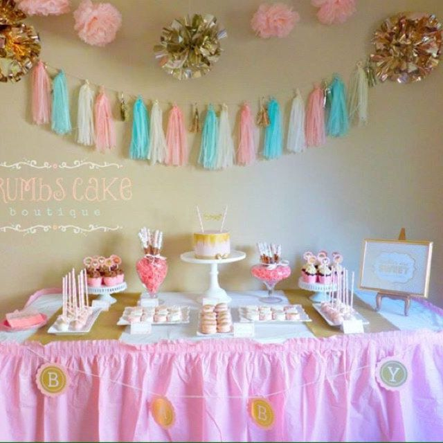 Pink gold blue baby shower decorations twin baby for Baby shower decoration ideas for twins