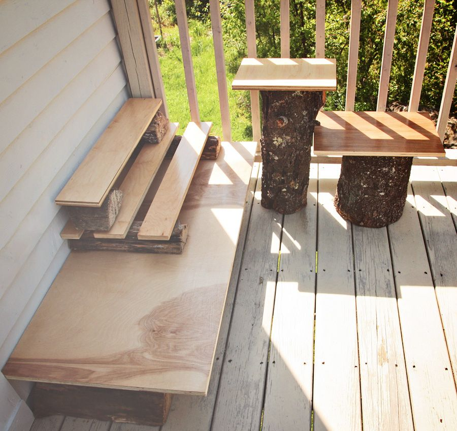 Decoration Diy Plant Stand With Plywood And Cut Tree