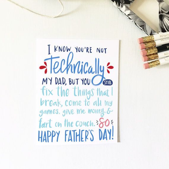 Not Technically My Dad Father S Day Card By Teenyweeniepaper