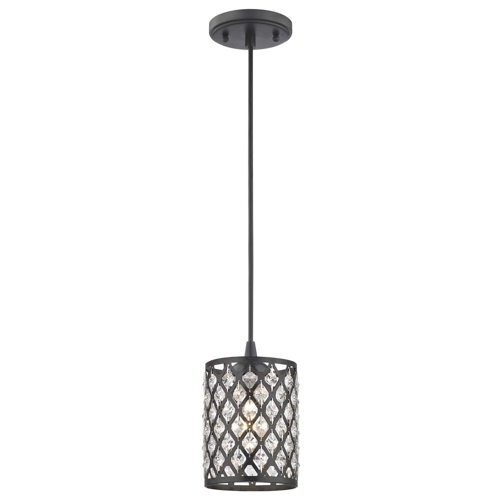Crystal Matte Black & Phoenix Cord Hung Mini-Pendant Light | Lights ...