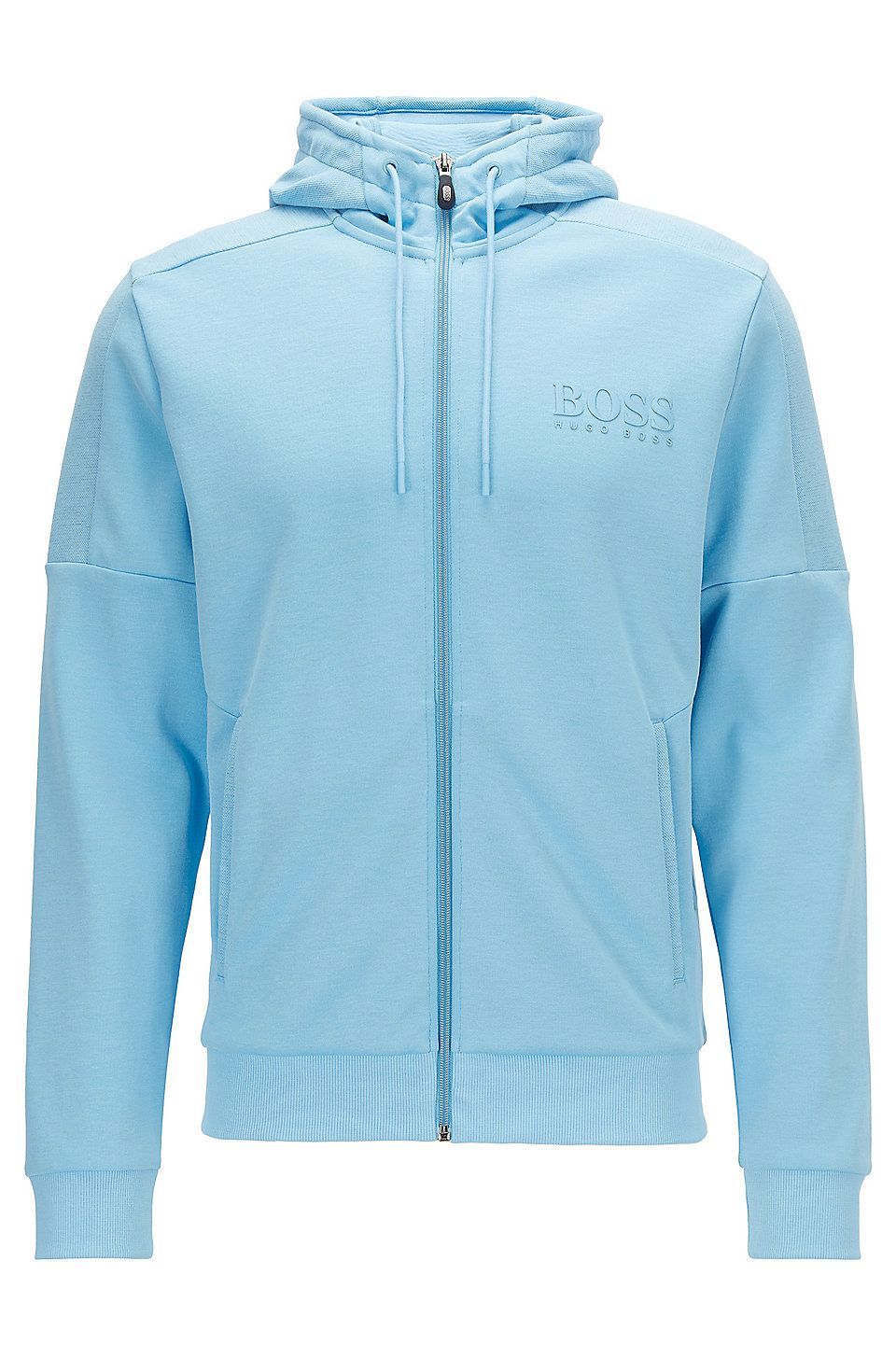 Hugo Boss Regular Fit Jacket In A Cotton Blend Light Blue Sweaters And Cardigans From Boss For Men In The Offi Workout Jacket Jackets Hooded Sweatshirt Men [ 1456 x 960 Pixel ]