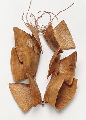Sculptural Butterflies cherry wood necklace by Dorothea Pruhl - bold modern simplicity #jewellery