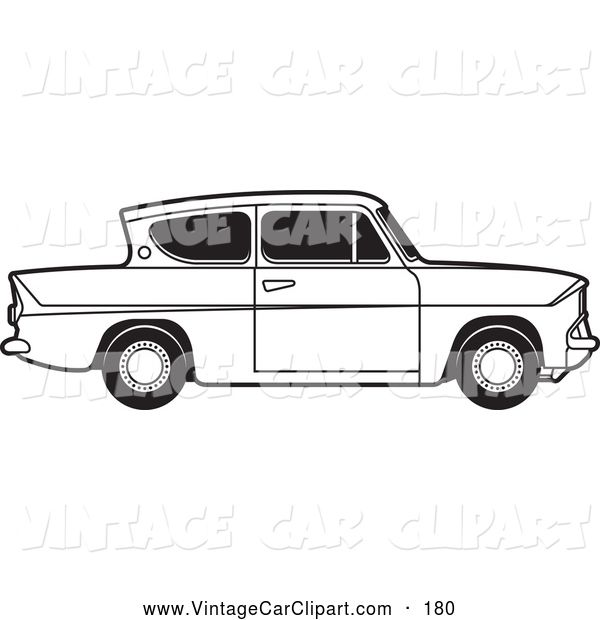 Clipart Of A Old Fashioned Vintage Black And White Ford Anglia Car