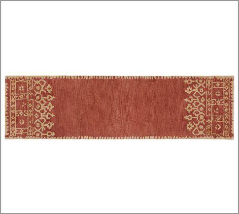 Desa Bordered Hand Tufted Wool Rug Terracotta Pottery Barn Rugs Rugs Wool Rug