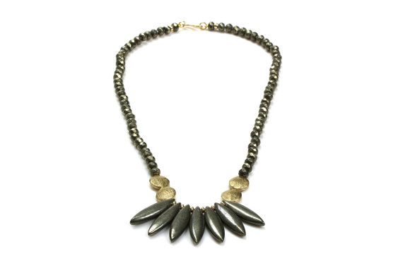 This is an amazing marquise pyrite necklace with round brushed gold coins.  => Gemstone Type - Pyrite => Gemstone Cut - Faceted Rondelles & Marquise