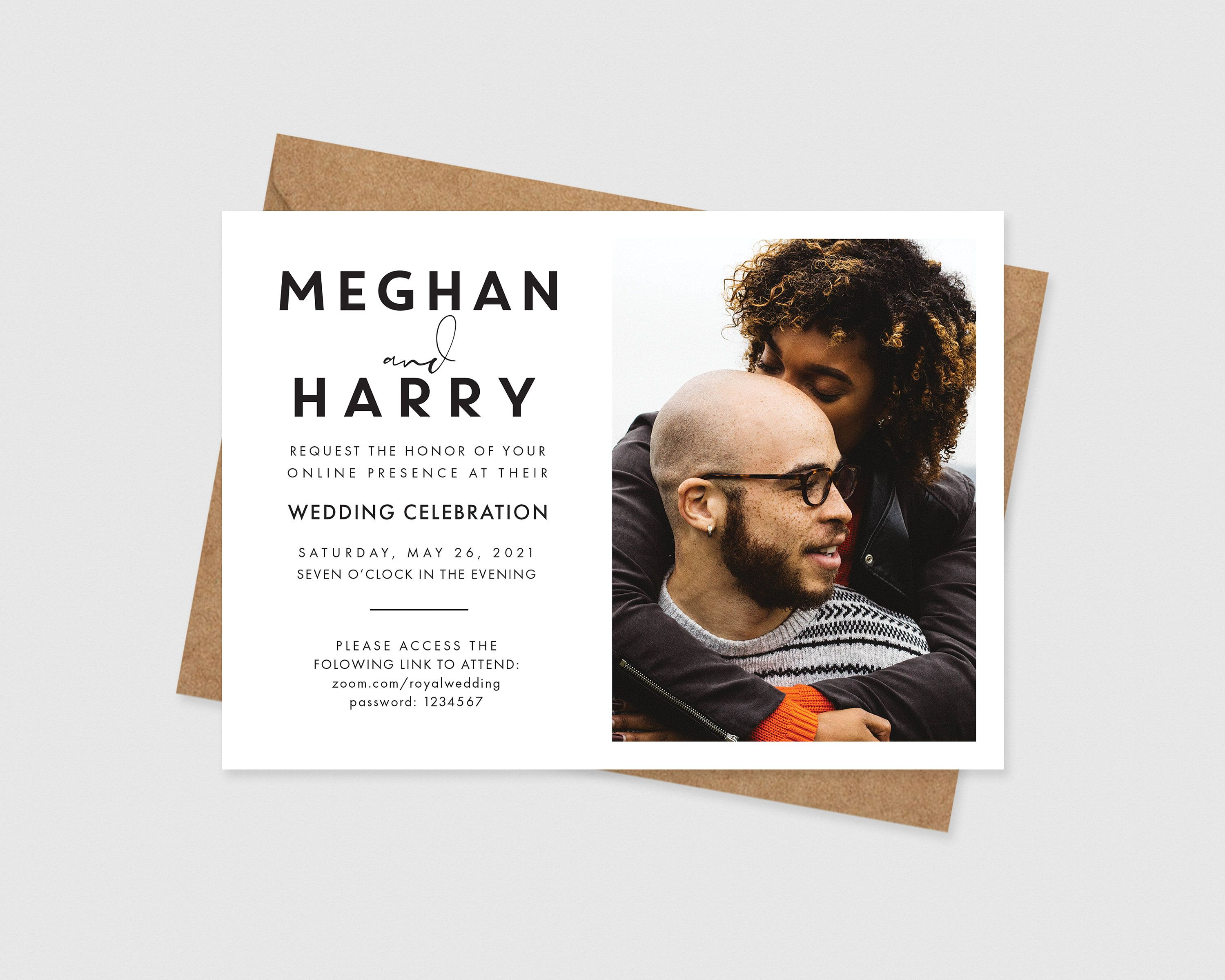Photo Virtual Wedding Invitation Printable Modern Zoom Etsy In 2020 Wedding Invitations Online Wedding Invitation Styles Wedding Invitations