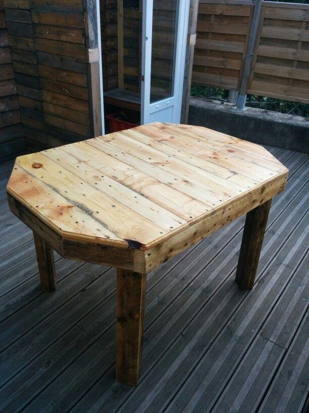 table extérieure en palettes recyclées http://meubledecopalette.e