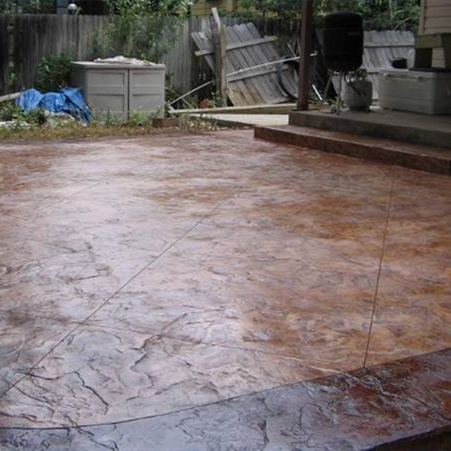 how to stamp a concrete patio | concrete patios, concrete and patios - Diy Concrete Patio Ideas