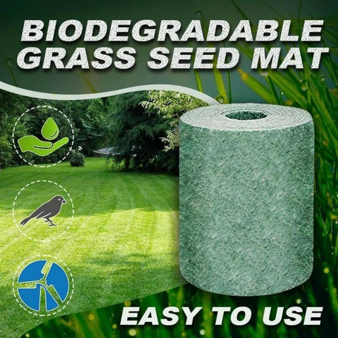 Growing Grass Is As Easy As 1 2 3 Bio Grass Mat Is Your New Biodegradable Growing Solution That Makes Everyt Grass Seed Mat Biodegradable Products Grass Seed