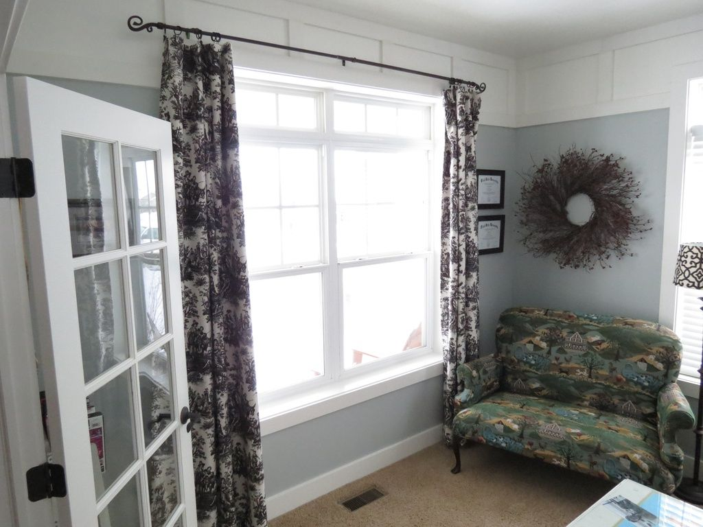 Tall ceilings. Home office with French doors. Wall detail.   Home ...