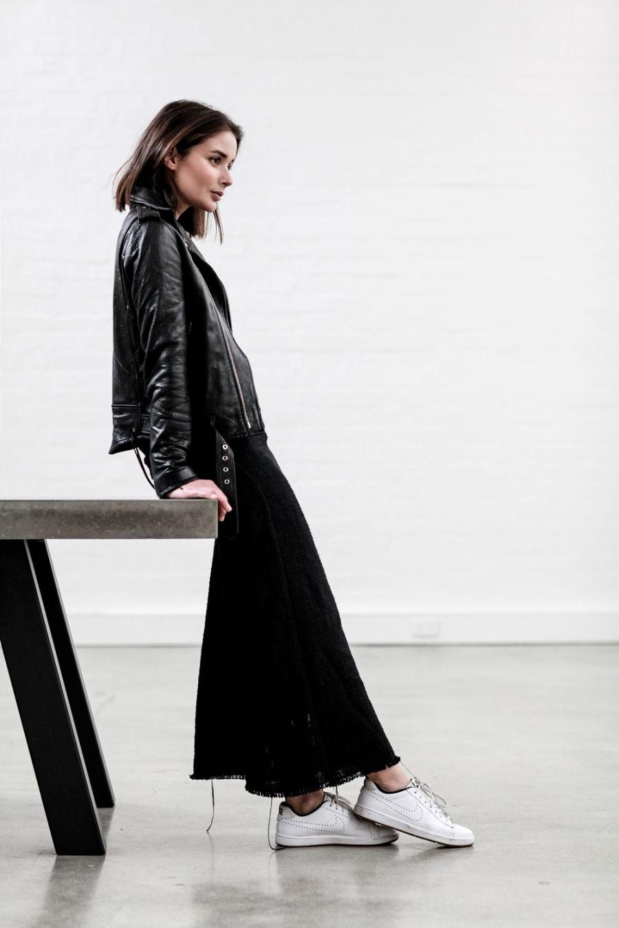 Black On Black Layering Harper And Harley Fashion Style Leather Jacket Dress [ 1350 x 900 Pixel ]