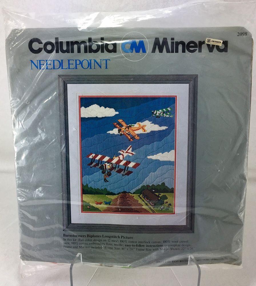 Barnstormers Biplanes Vtg Longstitch Needlepoint Kit CM Columbia Minerva 2098 #ColumbiaMinerva