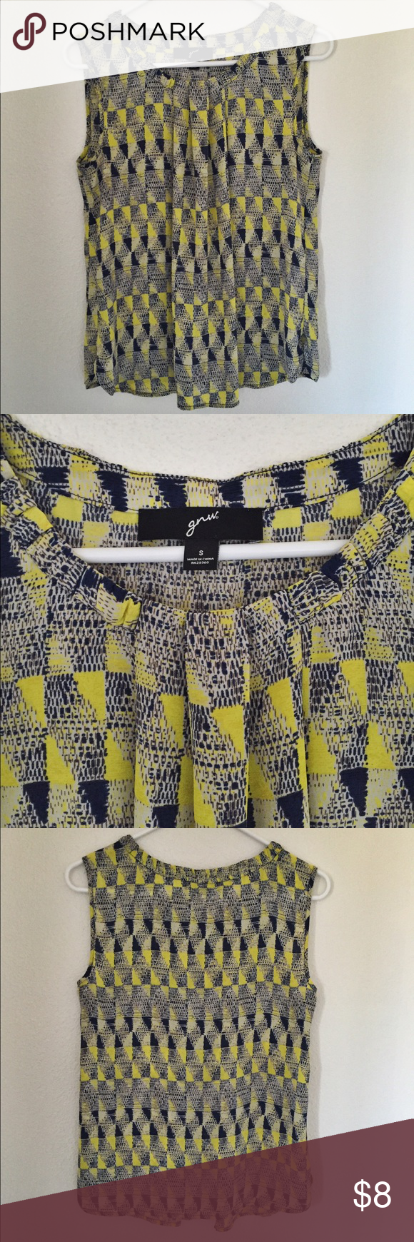 GNW women's blue and yellow tank top, Size small I've only worn this tank top a couple of times.  I wore it with a blue infinity scarf. It a very cute, comfy, and flowy top. Perfect for spring or summer. Great North West Tops Tank Tops