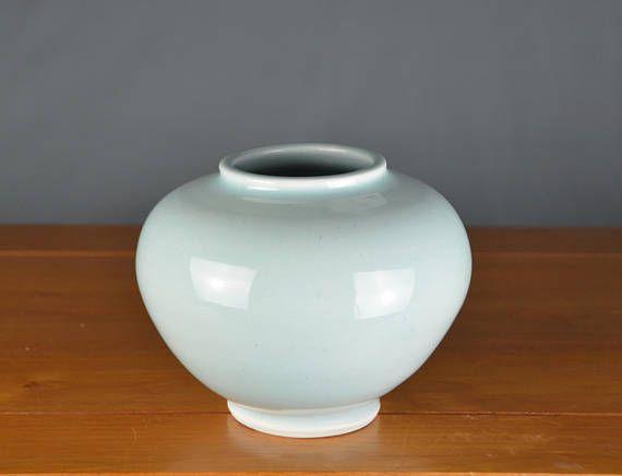 Light Blue Green Ceramic Vase Hand Thrown Porcelain Pottery