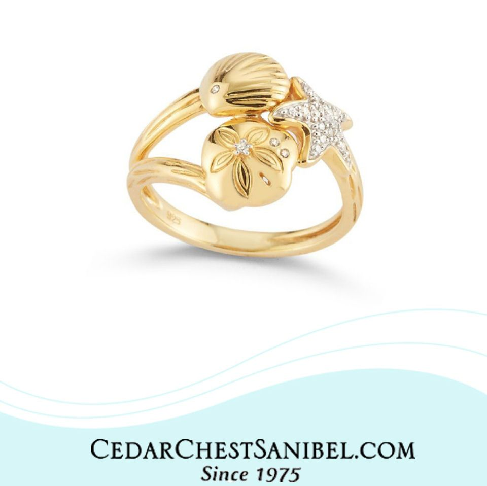 Diamond Three Shell Ring Rings Jewelry Starfish Ring