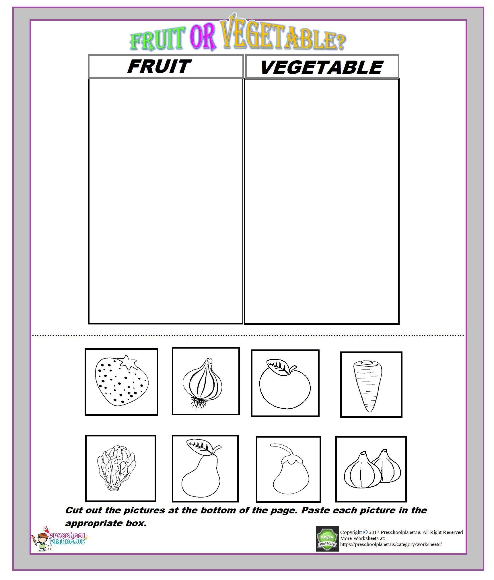 Fruit Or Vegetable Worksheet Worksheets For Kids Kindergarten Worksheets Worksheets