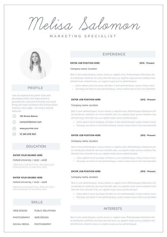 Resume Template Resume CV Template CV design Curriculum Vitae