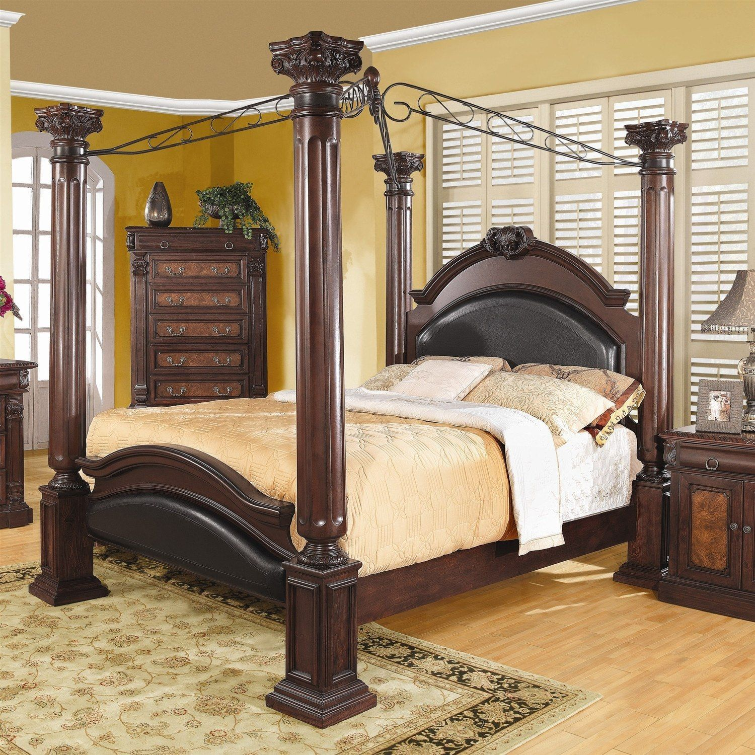 Queen Size Canopy Bed 4 Poster Bed With Large Posts