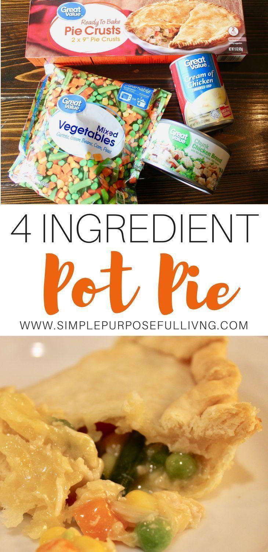 Easy 4 Ingredient Chicken Pot Pie - Rezepte zum Abendessen - #Chicken #Dinner #EAS #easypierecipes