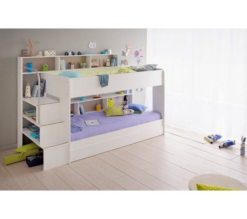 Bibop 2 Bunk Twin Over Twin Bed with Trundle (2 Mattresses included ...