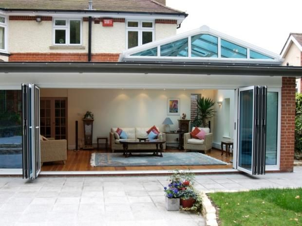 For a truly impressive room add bi folding doors to open for Conservatory doors exterior