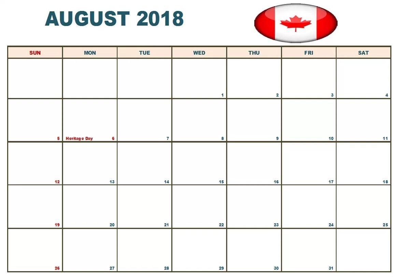 Canada August 2018 Holidays Calendar | Calendar 2018 | Pinterest