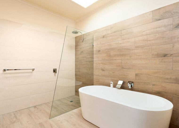 carrelage imitation parquet de sol et de mur de salle de bain - Carreler Mur Salle De Bain