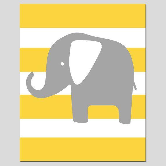 Yellow /& Grey Nursery Prints Set Of 3 Elephant Family Pictures Chevron Stripes