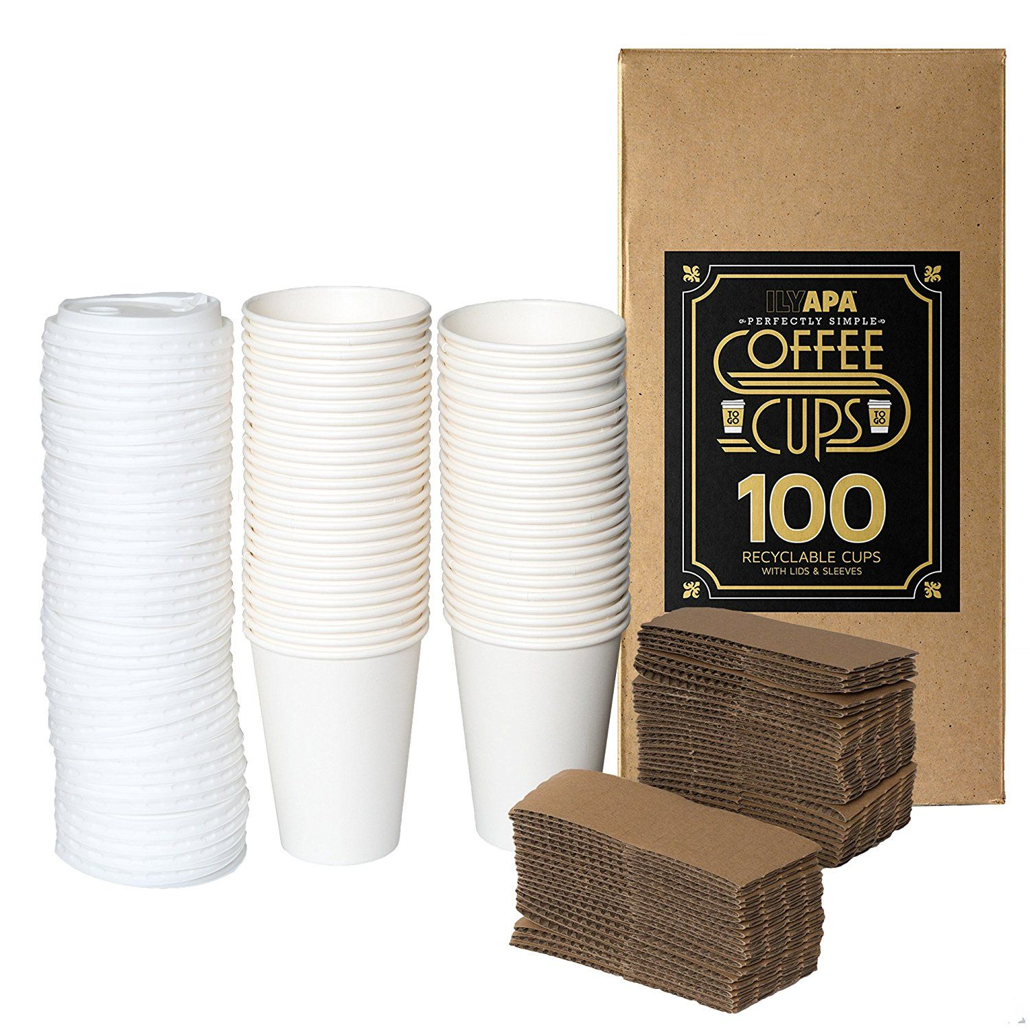 50 Pack 12 oz To Go Coffee Cups with Sleeves