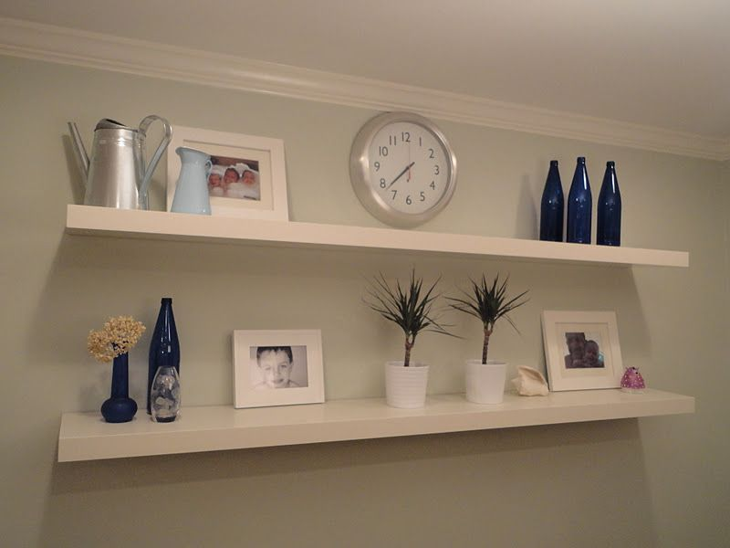 Simple White Panel For Ealing Floating Shelves Ikea With Various Ornaments On Grey Painted Wall