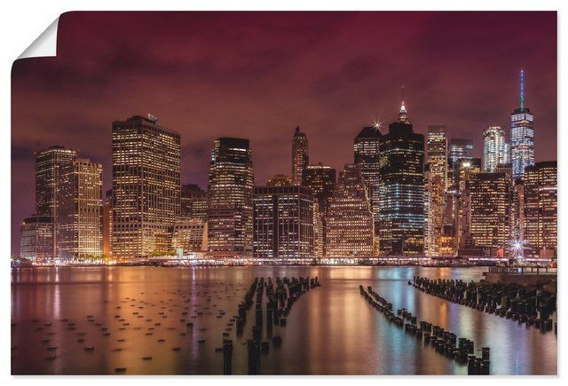 Kunstdruck Poster »Melanie Viola: NEW YORK CITY Impression bei Nacht«