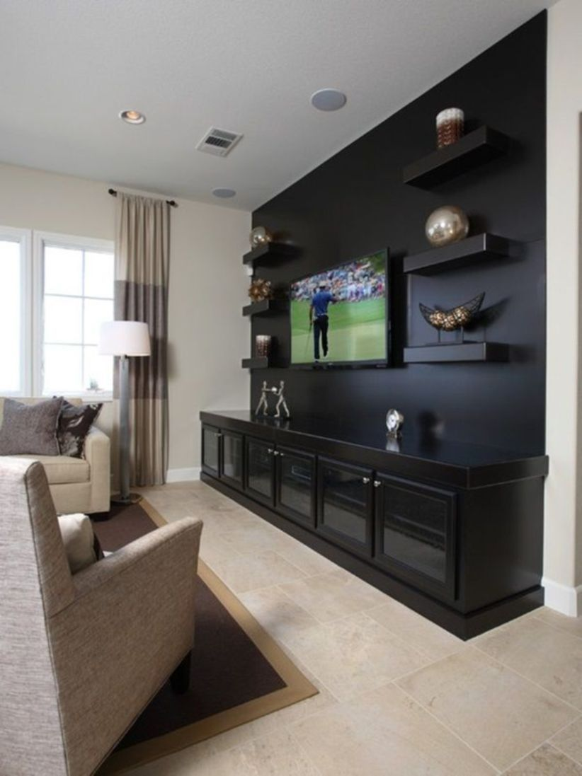 Affordable Wooden Tv Stands Design Ideas With Storage 06 Living Room Tv Wall Media Room Design Living Room Theaters
