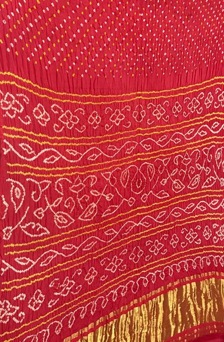 dd8d5c9e34 Red Handloom Bandhani Gajji Silk Saree | Bandhani Sarees | Saree ...