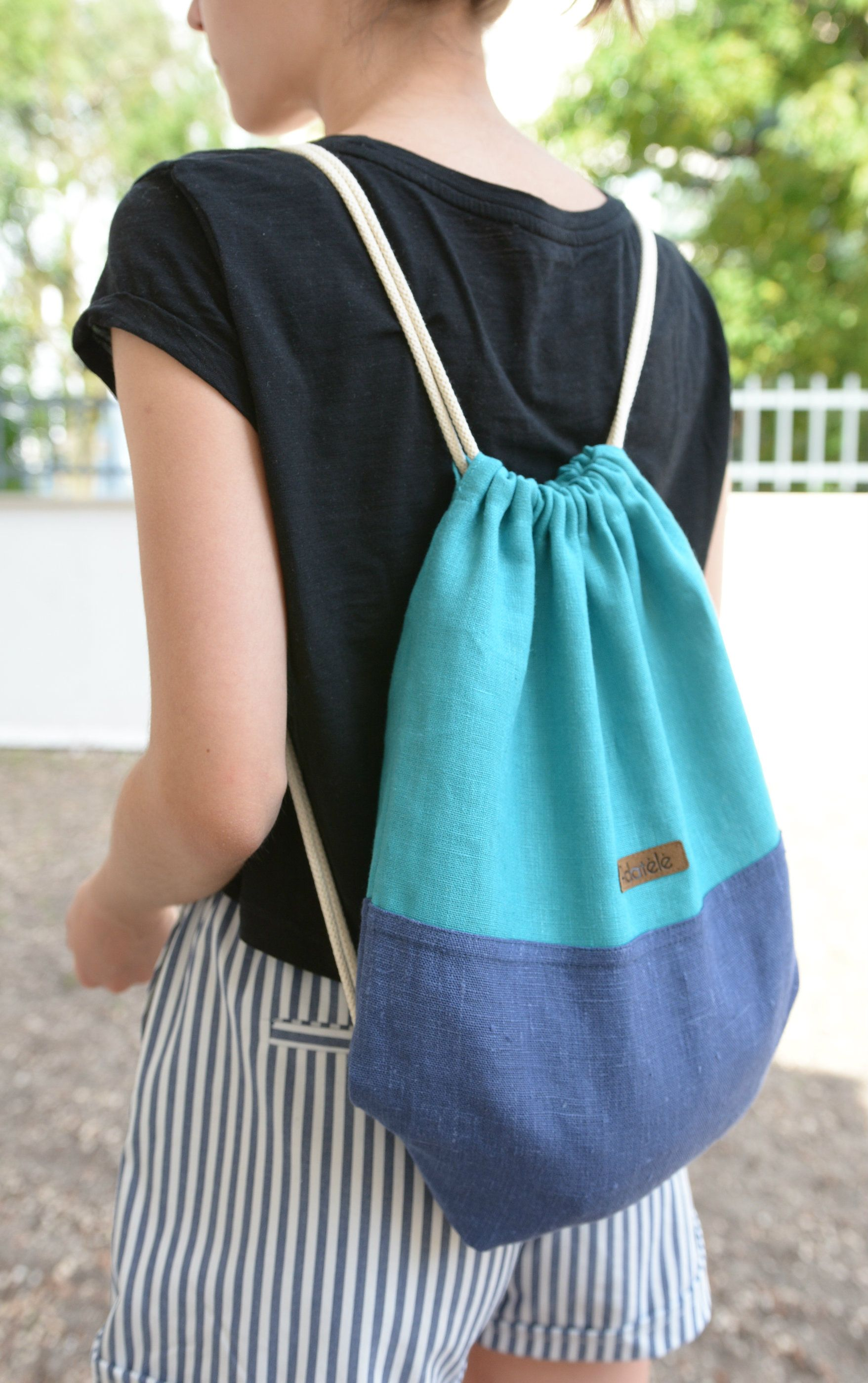 Color Block Drawstring Backpack For Teens