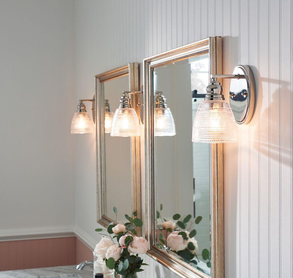 Kichler Karmarie Wall Sconce In Polished Nickel Bathroom